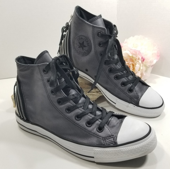 Converse Tri Zip Leather Trainer Sneakers Size 10